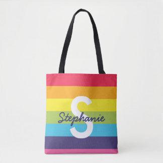 Bright Rainbow Stripe Initial Name Tote