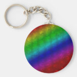 Bright Rainbow Striped Bubble Wrap Basic Round Button Keychain