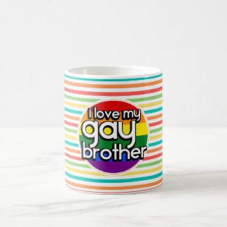 Bright Rainbow Stripes; Gay Brother Classic White Coffee Mug