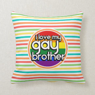 Bright Rainbow Stripes; Gay Brother Pillows