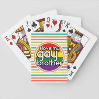 Bright Rainbow Stripes; Gay Brother Poker Cards