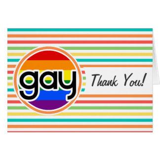 Bright Rainbow Stripes Gay Card