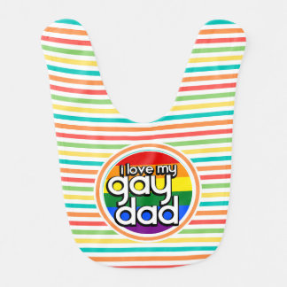 Bright Rainbow Stripes, Gay Dad Bib