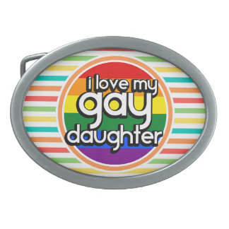 Bright Rainbow Stripes, Gay Daughter Oval Belt Buckle