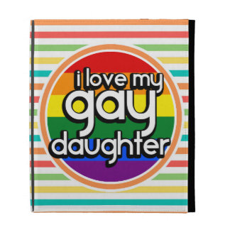 Bright Rainbow Stripes, Gay Daughter iPad Folio Cases