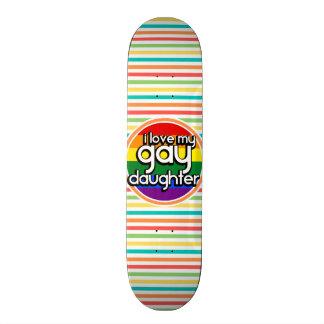 Bright Rainbow Stripes Gay Daughter Skate Deck