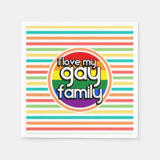 Bright Rainbow Stripes, Gay Family Napkin