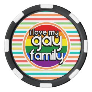 Bright Rainbow Stripes, Gay Family Poker Chips Set