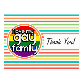 Bright Rainbow Stripes, Gay Family Post Cards