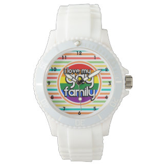 Bright Rainbow Stripes, Gay Family Wristwatch