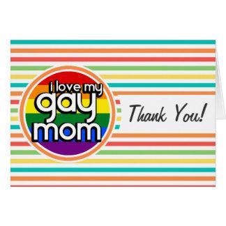 Bright Rainbow Stripes Gay Mom Card