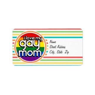 Bright Rainbow Stripes Gay Mom Address Label
