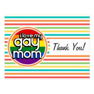 Bright Rainbow Stripes Gay Mom Postcard
