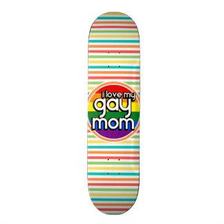 Bright Rainbow Stripes Gay Mom Skateboard