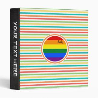 Bright Rainbow Stripes, LGBT Flag Vinyl Binder