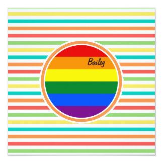 Bright Rainbow Stripes, LGBT Flag 5.25x5.25 Square Paper Invitation Card