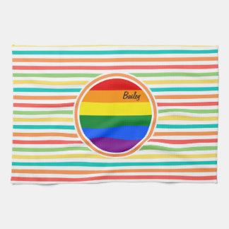 Bright Rainbow Stripes, LGBT Flag Kitchen Towels