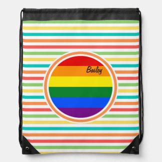 Bright Rainbow Stripes, LGBT Flag Drawstring Backpack