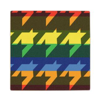 Bright Rainbow Stripes Wooden Coaster