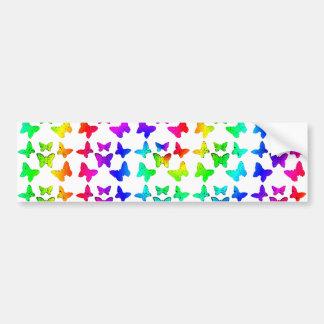 Bright Rainbow Swirl Butterflies Bumper Sticker