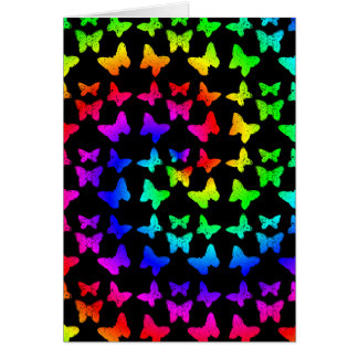 Bright Rainbow Swirl Butterflies Card