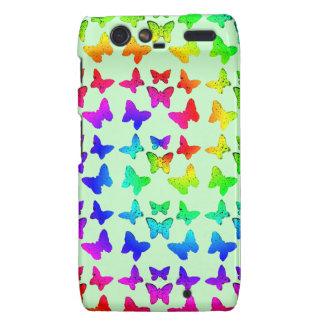 Bright Rainbow Swirl Butterflies Droid RAZR Covers