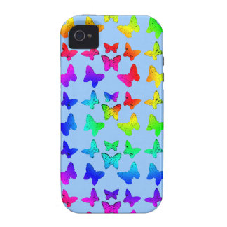 Bright Rainbow Swirl Butterflies iPhone 4 Case