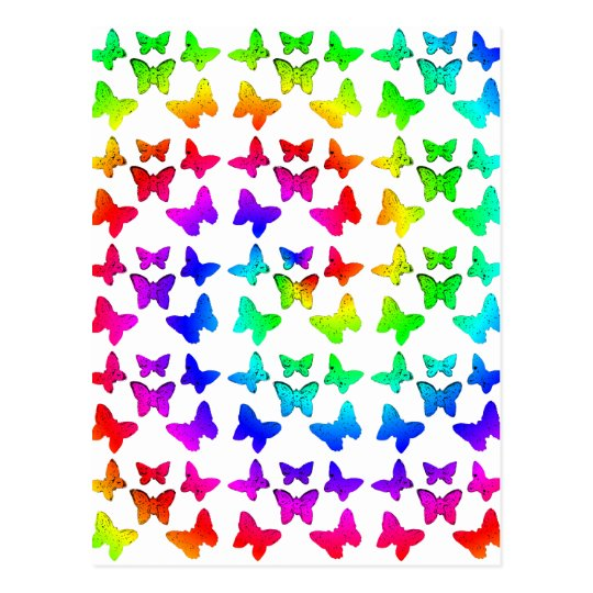 Bright Rainbow Swirl Butterflies Postcard