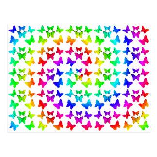 Bright Rainbow Swirl Butterflies Postcards