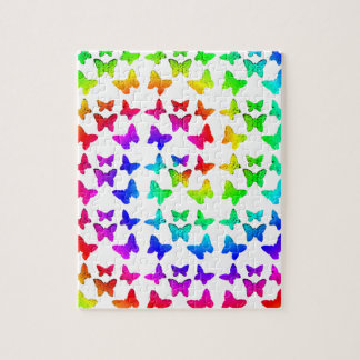 Bright Rainbow Swirl Butterflies Puzzle