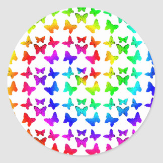 Bright Rainbow Swirl Butterflies Stickers