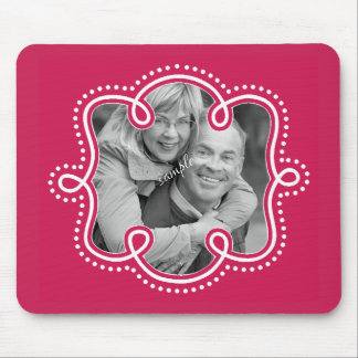 Bright Raspberry Pink Doodled Frame Photo Mouse Pad