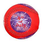 Bright Red 4th of July Fireworks Celebration Baseball