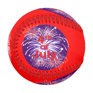 Bright Red 4th of July Fireworks Celebration Baseball