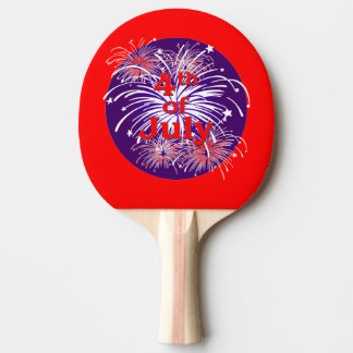 Bright Red 4th of July Fireworks Celebration Ping-Pong Paddle