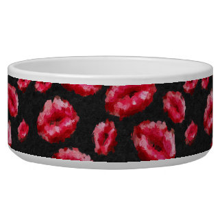 Bright Red Abstract Lips Bowl