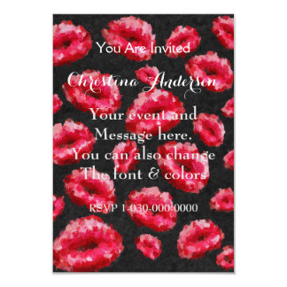 Bright Red Abstract Lips Card