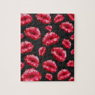 Bright Red Abstract Lips Puzzle