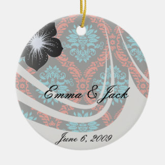 bright red and aqua blue black ornate damask ceramic ornament