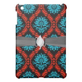 bright red and aqua blue black ornate damask cover for the iPad mini
