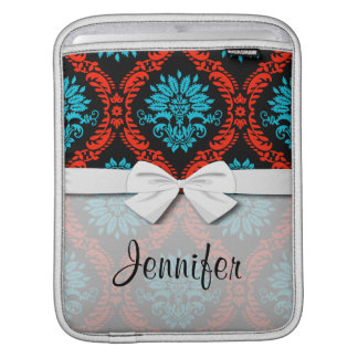 bright red and aqua blue black ornate damask iPad sleeve