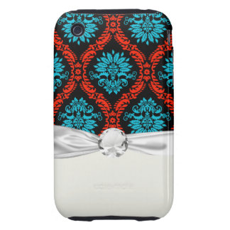 bright red and aqua blue black ornate damask iPhone 3 tough cover