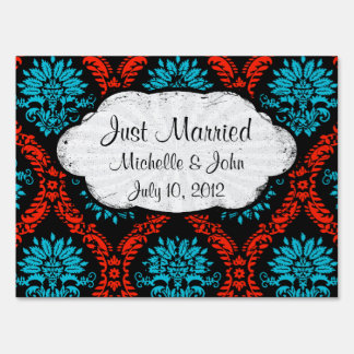 bright red and aqua blue black ornate damask lawn sign