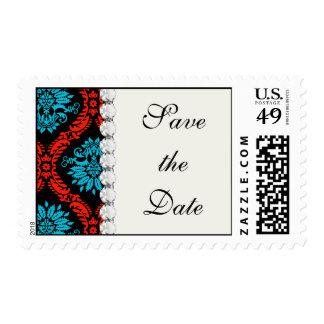 bright red and aqua blue black ornate damask postage