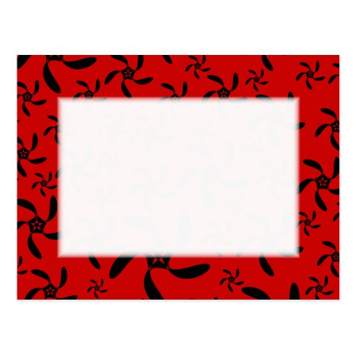 Bright Red and Black Floral Pattern. Post Card