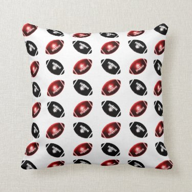 Bright Red and Black Football Pattern Pillow