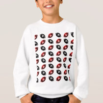Bright Red and Black Football Pattern Sweatshirt