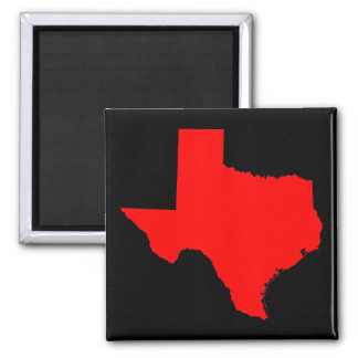Bright Red and Black Texas 2 Inch Square Magnet