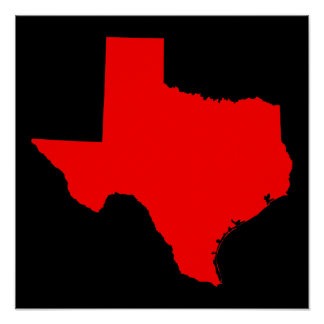 Bright Red and Black Texas Poster
