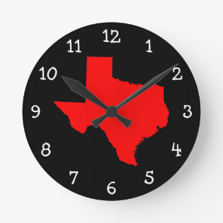 Bright Red and Black Texas Round Clock